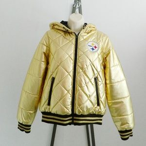 NFL Pittsburgh Steelers Gold Quilted Hooded Jacket